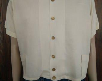 Vintage 50's men's DiCassio California beige shirt short sleeve size Medium