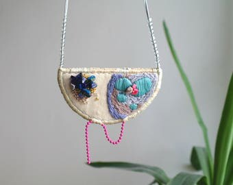 Hand embroidery necklace, Unique jewelry, embroidery jewelry, crescent necklace lapis, fabric necklace, modern necklace, unique gift for her