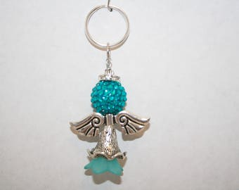 Angel Key chain, Angel Wing Key Chain, Heaven Charm, Blue Bead, Silver, Rhinestone