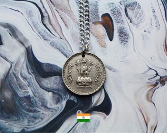 Indian 5 Rupees Handmade Silver Coin Necklace - Silver Plated Chain.