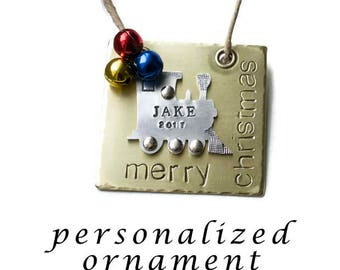 Personalized Child's Ornament Merry Christmas Train Tractor Ornament Hand Stamped Brass Gifts Under 30 Engraved Baby Name  New Baby Gift