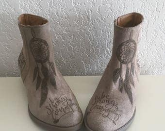 Handcrafted Boho Boots Strong & Courageous