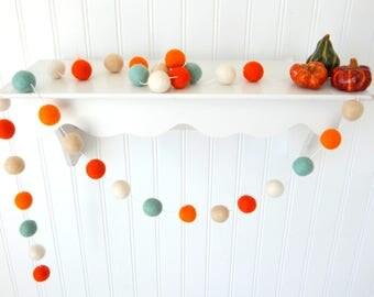 Crisp Autumn Air Garland, Autumn Garland, Mint Fall Garland, Fall Decoration, Thanksgiving Garland, Felt Ball Garland, Autumn Decor, Pumpkin