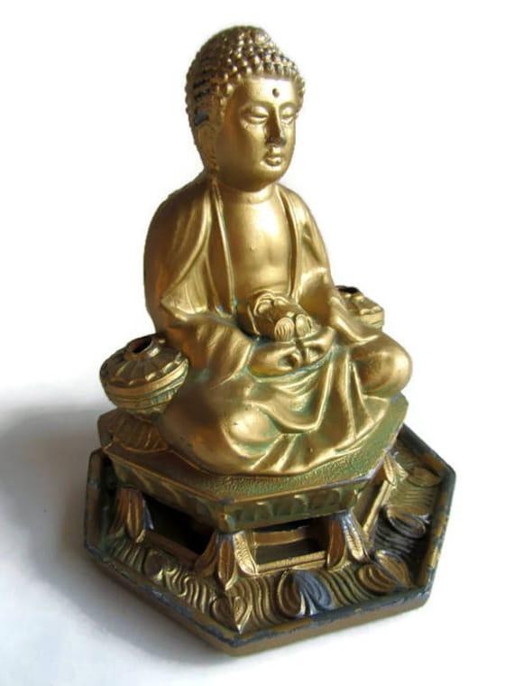 Vantine's Spelter Buddha Cone Incense Burner, 1920's