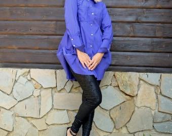 SUN SALE 25% OFF Purple Cotton Blouse / Purple Shirt / French Cuff Shirt Tt64