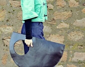 SALE 15% OFF Genuine Leather Bag TLB01, Extravagant Black Leather Bag, Black Tote, Large Leather Tote
