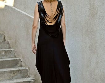 SALE 15% OFF Black Backless Dress / Black Leather Fringes Dress / Backless Maxi Dress / Fringe Backless Dress TDK140