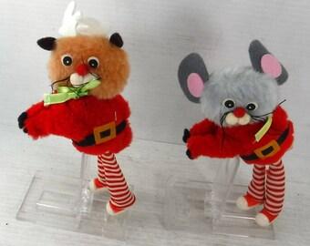 Vintage 1970s Pair of Christmas Mice Elf MTY international