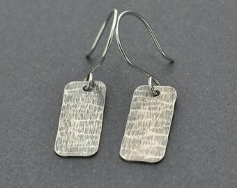 Silver Bar Earrings, Oxidised Earrings, Hammered Earrings, Sterling Silver Dangle