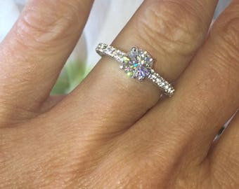 Moissanite Engagement Ring GHI 1.0ct Charles & Colvard Forever One Moissanite 14kt Gold Victorian Love Wedding Ring White Sapphire Accents