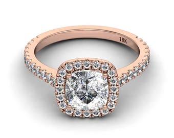 Moissanite Engagement Ring 1.70ct Cushion Cut Forever One Moissanite Ring .55ct Natural Diamonds Rose Gold Ring Pristine Custom Rings