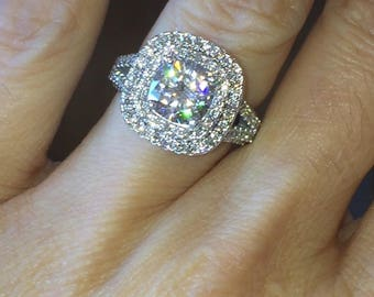 Forever One Moissanite Engagement Ring 2.0ct Cushion Cut Moissanite Ring  1.86ct Natural Diamonds Double Halo Ring Pristine Custom Rings