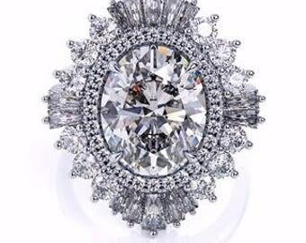 Oval Forever One Moissanite Engagement Ring 3.0ct Moissanite Ring 1.17ct Diamonds Art Deco Cocktail Anniversary Ring Pristine Custom Rings