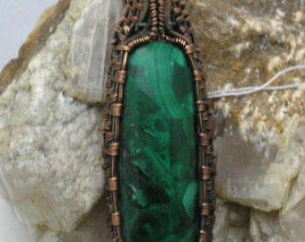 Malachite Handmade Wire Woven Wrapped Pendant