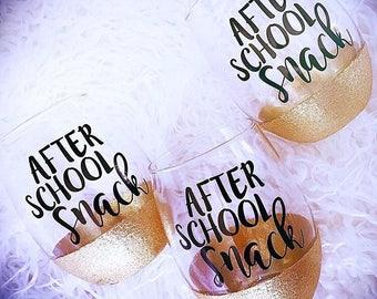 After school snack/ Teacher Gift/ Teacher Appreciation Week/ Teachers/ Student Teacher/ Grad Student Gift/ Teacher Life/ Teacher Wine Glass