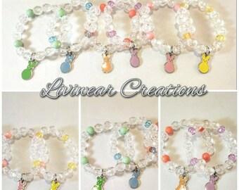 Easter Basket Stuffers, Kids Bracelets, Easter Bunny Jewelry for Girls