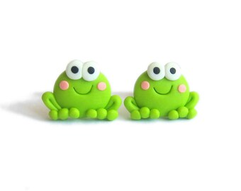 Frog Earrings, Frogs Polymer Clay Jewelry, Green Earrings, Small Earrings, Stud Earrings, Animal Earrings, Animals Jewelry, Girls Gifts Fimo
