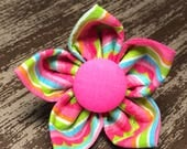 Bow Tie or Flower Collar Attachment & Accessory for Dogs and Cats / Bright Summer Stripes