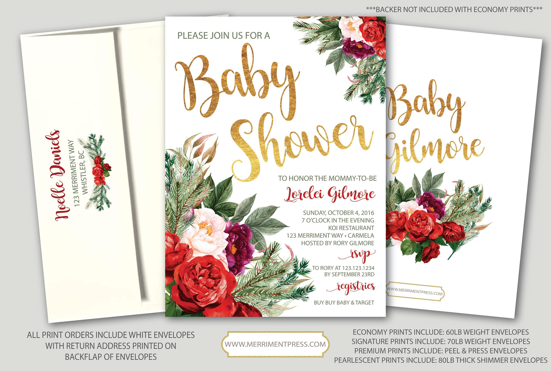 Holiday Baby Shower Invitation Christmas Baby Shower Winter