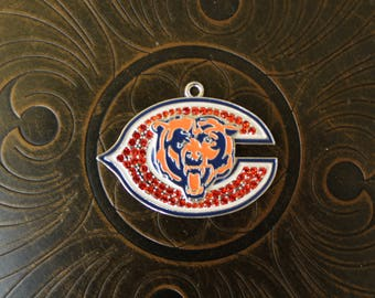 Chicago Bears Inspired Rhinestone Pendant for Chunky Bubblegum Necklaces
