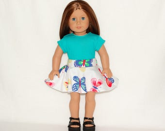 Handmade~ Full Circle Skirt and Aqua T-shirt~ to Fit 18 in Doll Clothes such as american girl doll clothes