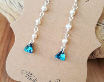 Sterling Silver White Freshwater Pearl and Blue Swarovski Triangle Earrings / 925 Sterling Silver Earrings / Drop Earrings / Pearl Earrings
