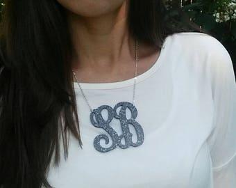 "XXL 3"" Black Glitter Two Initial Acrylic Monogram Necklace"