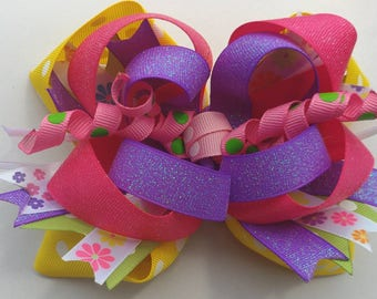 """OTT stacked boutique hairbow 6"""" X 4"""", handmade bow, XL bow, cheer bow, purple glitter, corkers, yellow dots, summer ponytail, OOAK"""