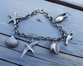retro Sea themed silver charm bracelet - Dutch jewelry - 6 charms - 925 and 835 silver, well detailed and hallmarked. Great shape ! Marine