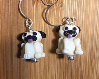 Adorable Lampwork standing Pug earrings with sterling silver beadswire wrapped and hanging on handmade sterling round ear wires.