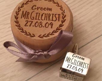 Personalised engraved wedding cufflinks geoom best man usher groomsmen plus engraved gift box