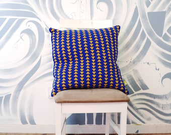 Extra Large Nacho Chip Pattern Knitted Cushion Cover - Bright/Bold/Knitted Interior