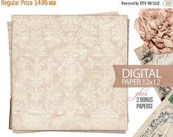 40% OFF SALE Digital Paper - 12x12 Scrapbook Antique Background Paper Old Vintage Paper - Digital Paper PLUS 2 Bonus Papers - Print - Instan