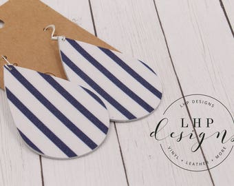 Royal Blue Stripe on White Cowhide Earrings