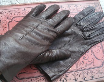 Vintage leather gloves, dark brown
