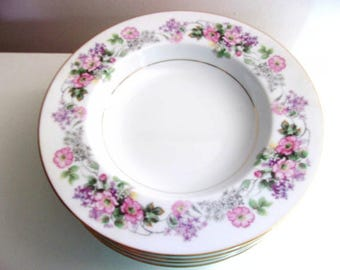 Noritake Roselane #5147 Soup Coupe Bowls Floral With Gold Accents - Lot of 6 - Free Shipping