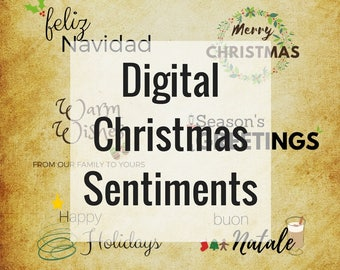 Digital Christmas Sentiments (PNG graphics)