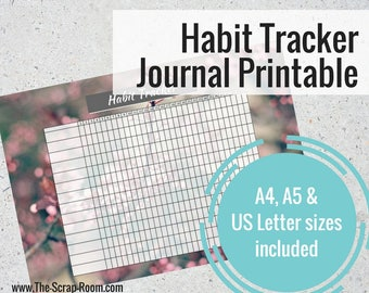 Printable Journal Habit Tracker Page -  for A4, A5 & US Letter size planners