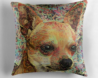 Chihuahua Gift, Chihuahua Pillow, Dog Throw Pillows, Dog Decor, Dog Lover Gift, Psychedelic Decor, Dog Cushion, Colorful Pillows,Dog Pillow