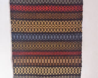 """Old Scandinavian hand-woven wall hanging weaved with """"Rosengång  from Sweden 1950s."""
