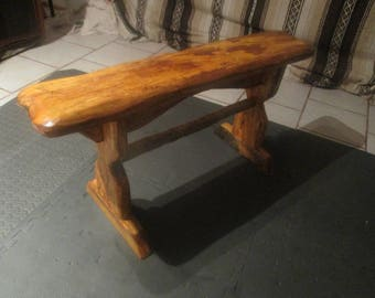 Handmade rustic bench made from 100% reclaimed wood from India.  Distressed, folk, farmhouse, country, primitive.  Local delivery only.
