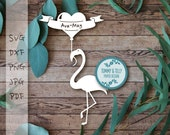 Flamingo Heart Balloon SVG DXF PDF Jpg Png - Papercutting Template to print and cut yourself (Commercial Use)