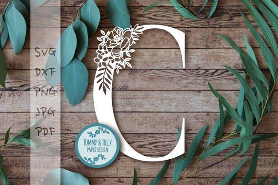 Floral Letter C Svg Pdf Dxf Jpg Png Design
