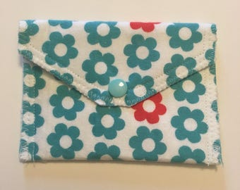 Blue and Orange Daisy flannel card pouch