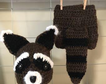 Crochet Rocket Raccoon newborn hat and diaper cover