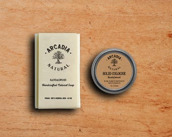 Sandalwood Solid Cologne in a Travel Tin and Natural Soap combo, Vegan, Alcohol Free and Handcrafted Soap + Solid Cologne