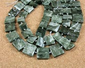 Seraphinite Flat Square Beads - Green Smooth Shiny Beads, 15mm