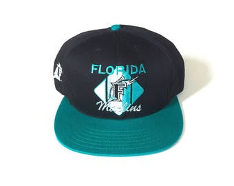 Vintage Florida Marlins MLB Baseball Snapback hat Adjustable one Size Fits all OSFA snap back deadstock New with tag all embroidered ccm