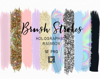 Brush Strokes Clip Art. Holographic rainbow. Holographic colors: silver glitter, light purple, gold glitter, purple Digital Design Resource.