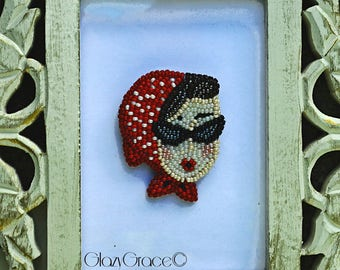 Red Ridding Hood beaded face brooch